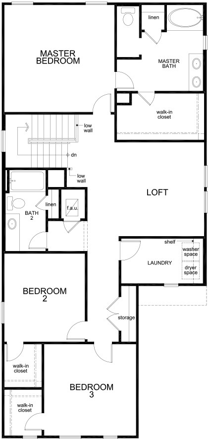 New Homes in San Antonio, TX - Plan 2450, Second Floor