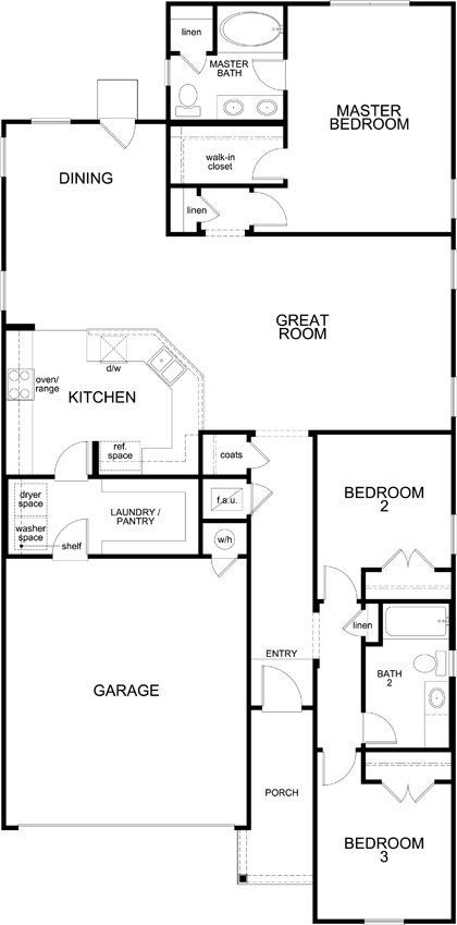 New Homes in San Antonio, TX - Plan E-1647, First Floor