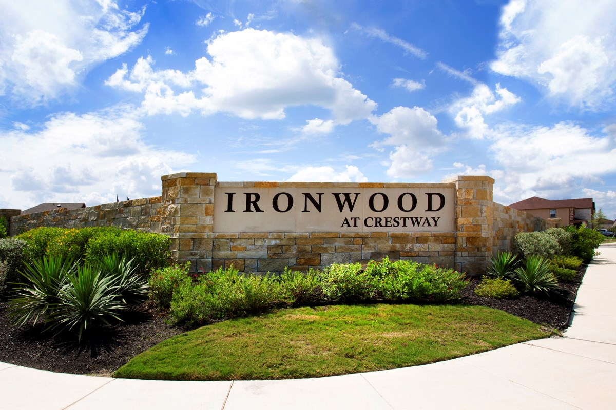 New Homes in San Antonio, TX - Ironwood at Crestway Community Entry