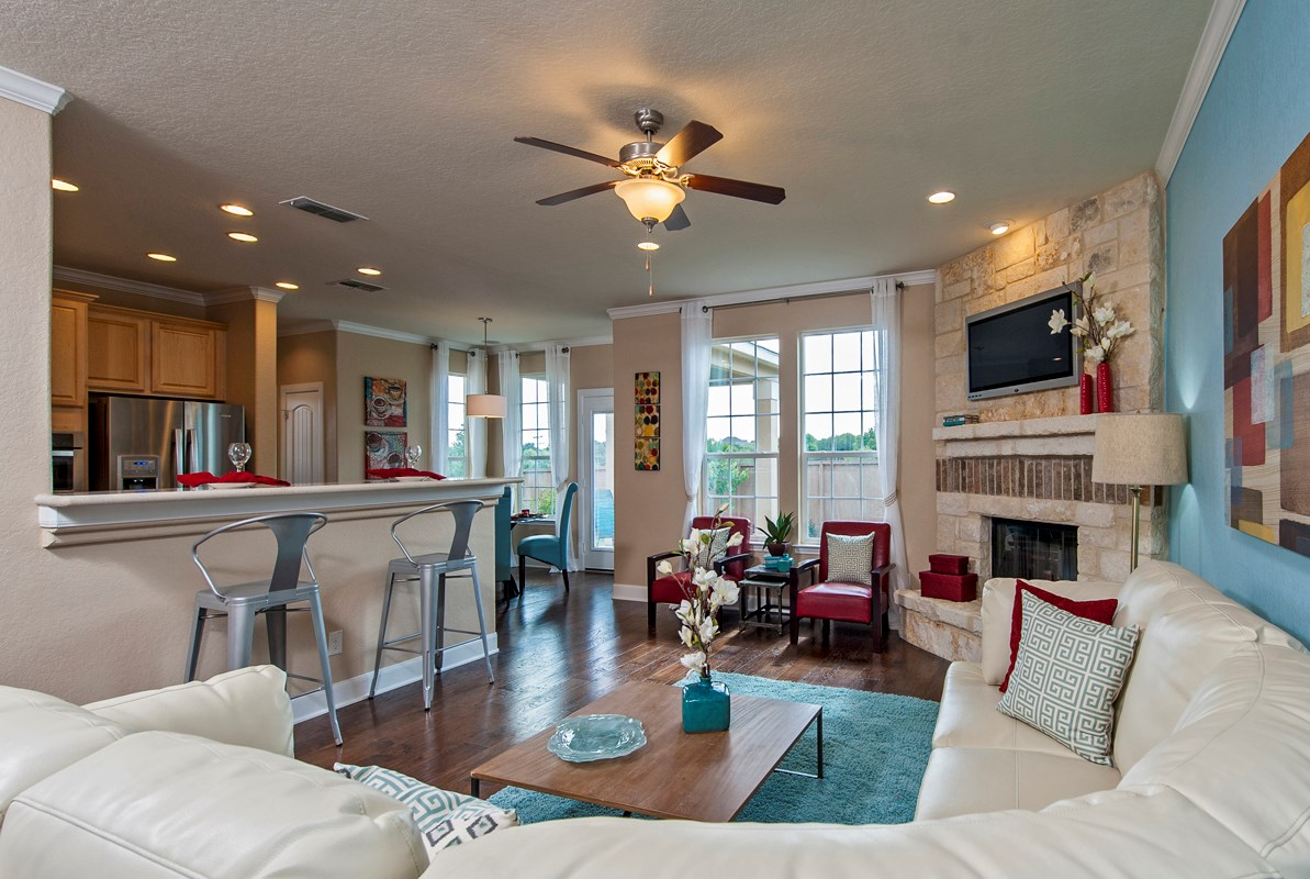New Homes in San Antonio, TX - Ironwood at Crestway The 2505 Family Room and Kitchen