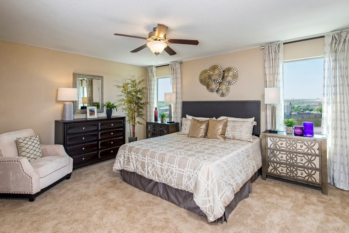 New Homes in San Antonio, TX - Dove Creek The 2239 Master Bedroom as modeled at Miller Ranch