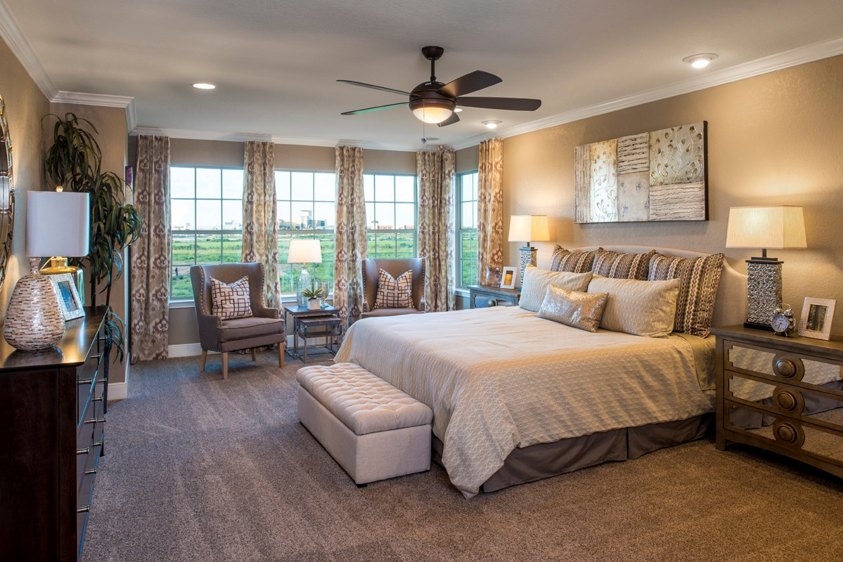 New Homes in San Antonio, TX - Hidden Bluffs at TRP The 3125 Master Bedroom - As Modeled at West Village at Creekside