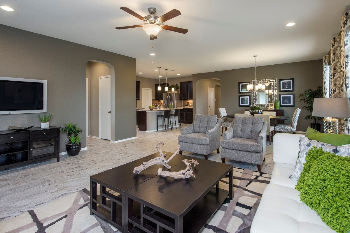New Homes in Temple, TX - Village of Sage Meadows The A-1965 Living, Dining and Kitchen