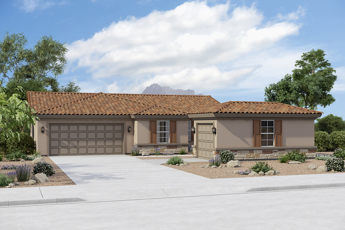 New Homes in Buckeye, AZ - Elevation B (Optional 3rd Car Garage with Stone)