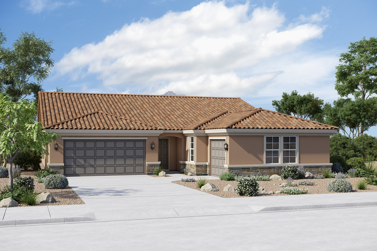 New Homes in Buckeye, AZ - Plan 2301 Elevation B (Option 3rd car garage with stone)