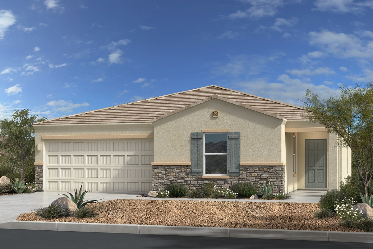 New Homes in Gold Canyon, AZ - Entrada Del Oro Plan 1994 Elevation C (with Stone)