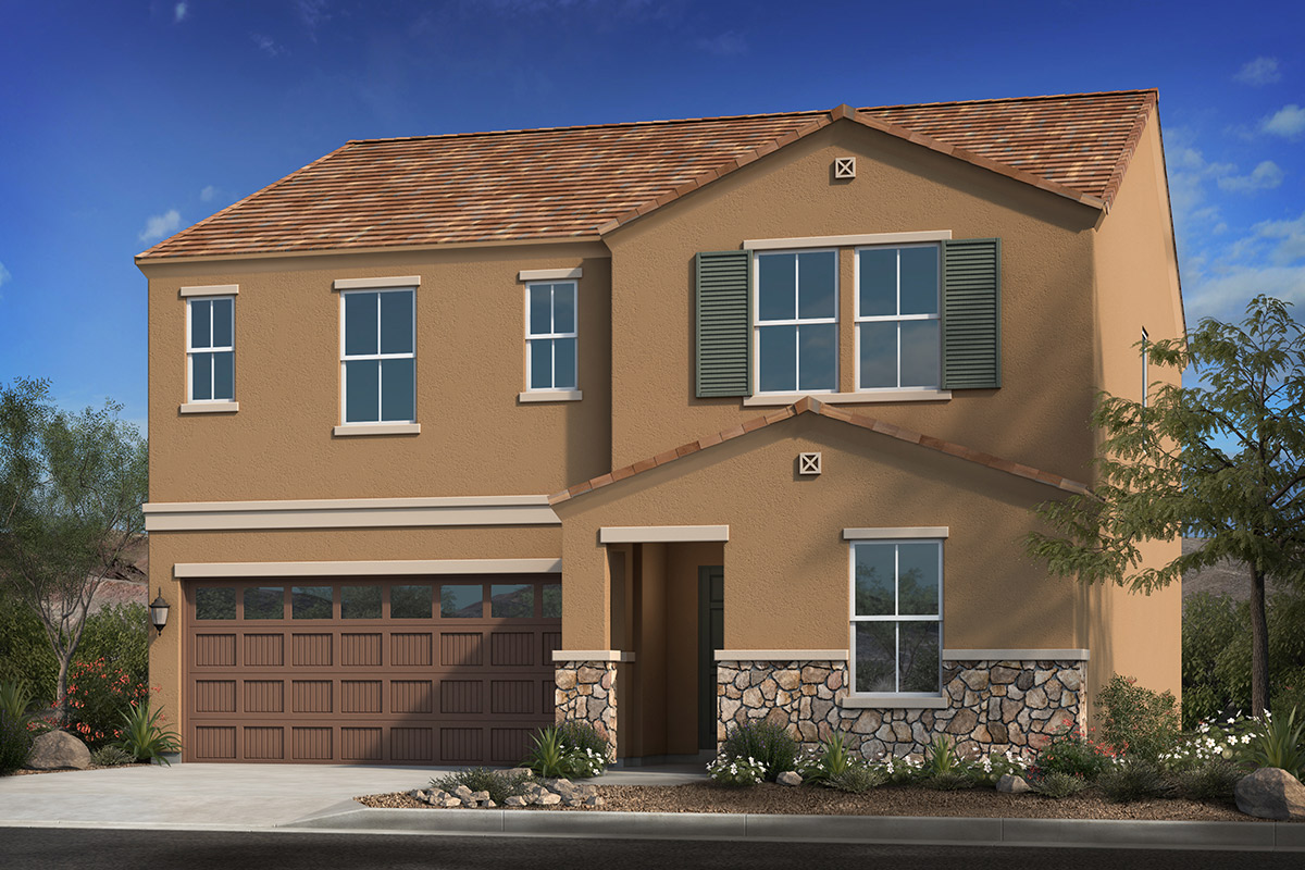 New Homes in Coolidge, AZ - Heartland Ranch Plan 2419 Elevation C with Optional Stone