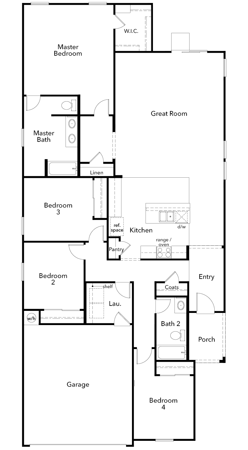 New Homes in Coolidge, AZ - Plan 1908, First Floor