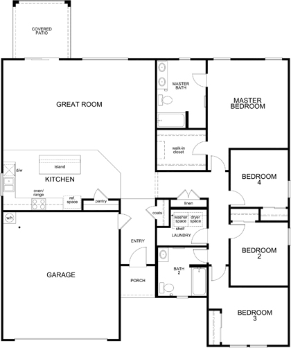 New Homes in Maricopa, AZ - Plan 1860, First Floor