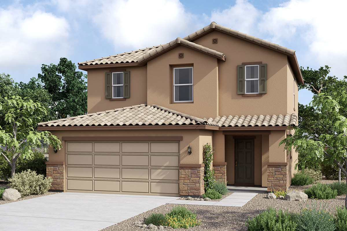 New Homes in Maricopa, AZ - Plan 1431 Tuscan 'C'  (With Stone)