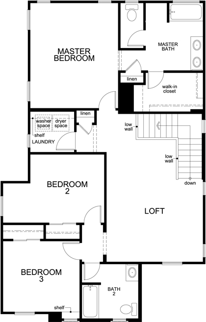 New Homes in Goodyear, AZ - Plan 1932, Second Floor