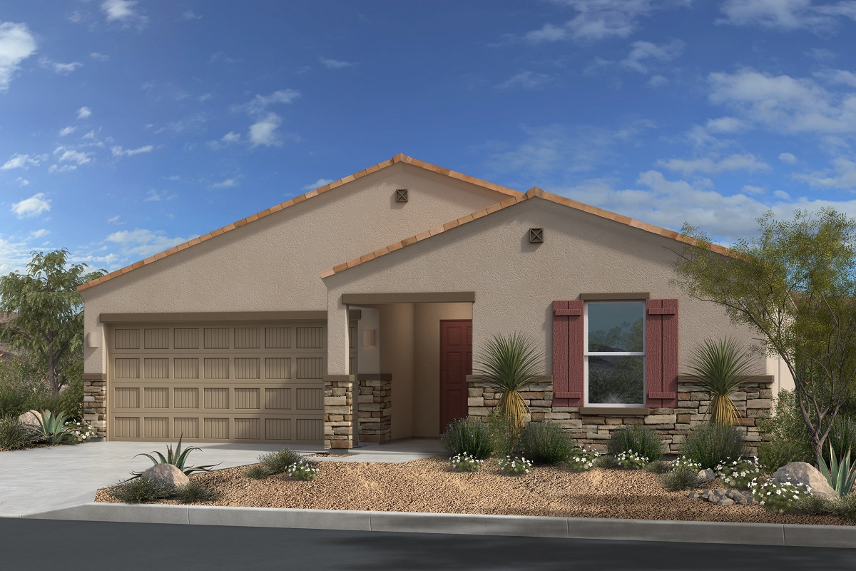 New Homes in Gold Canyon, AZ - Peralta Canyon Plan 1476 Elevation C with Stone