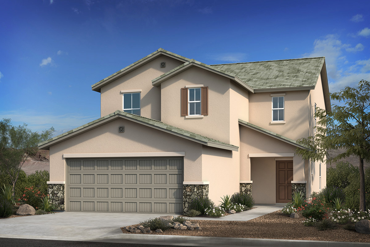 New Homes in Tucson, AZ - Bella Tierra Plan 2212 Elevation C with optional stone