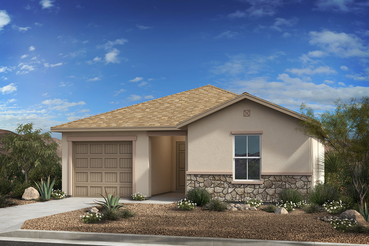 New Homes in Tucson, AZ - Desert Point Plan 1015 Elevation C (with Optional Stone)