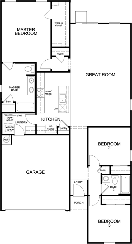New Homes in Tucson, AZ - Plan 1584 Modeled, First Floor