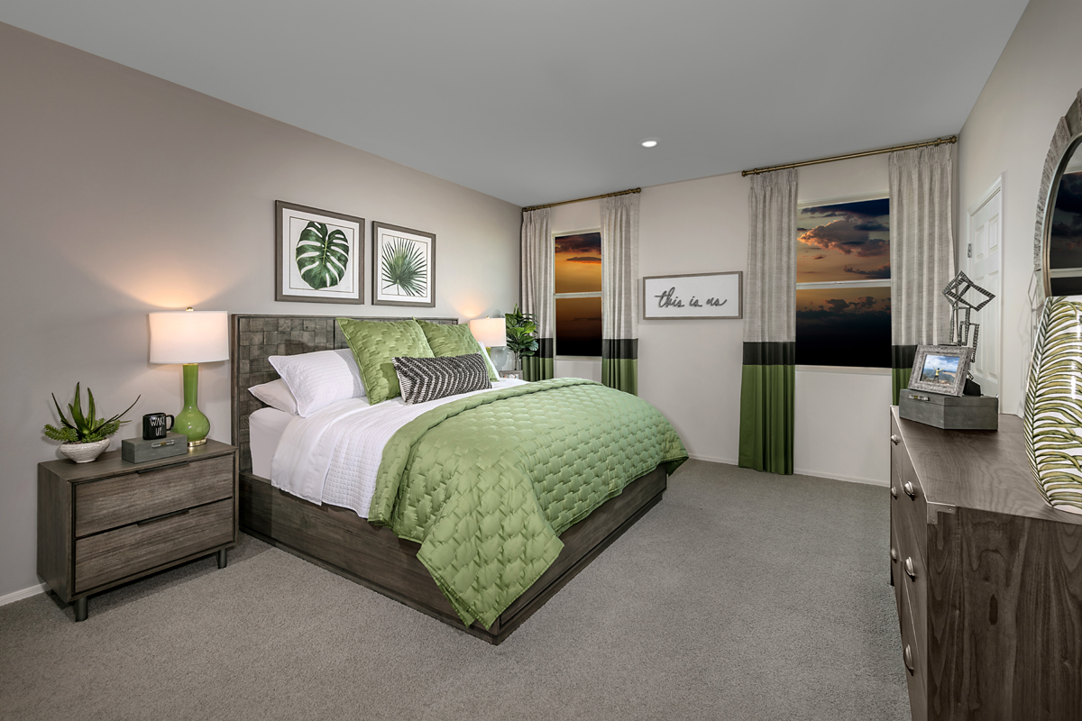 New Homes in Tucson, AZ - Northwood Point Plan 1584 Master Bedroom as modeled at Desert Point