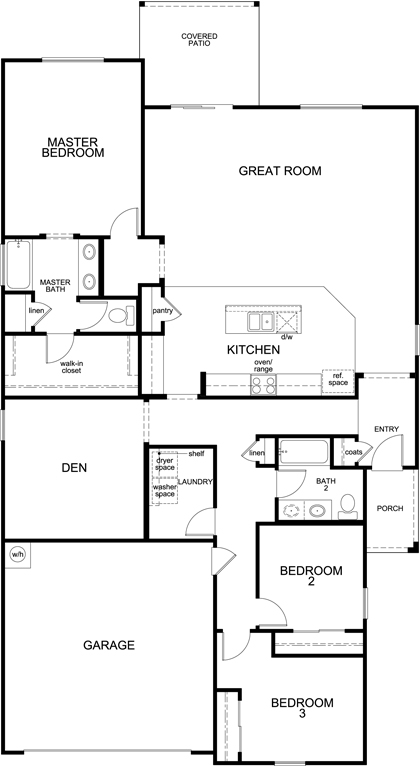 New Homes in Tucson, AZ - Plan 2013, First Floor