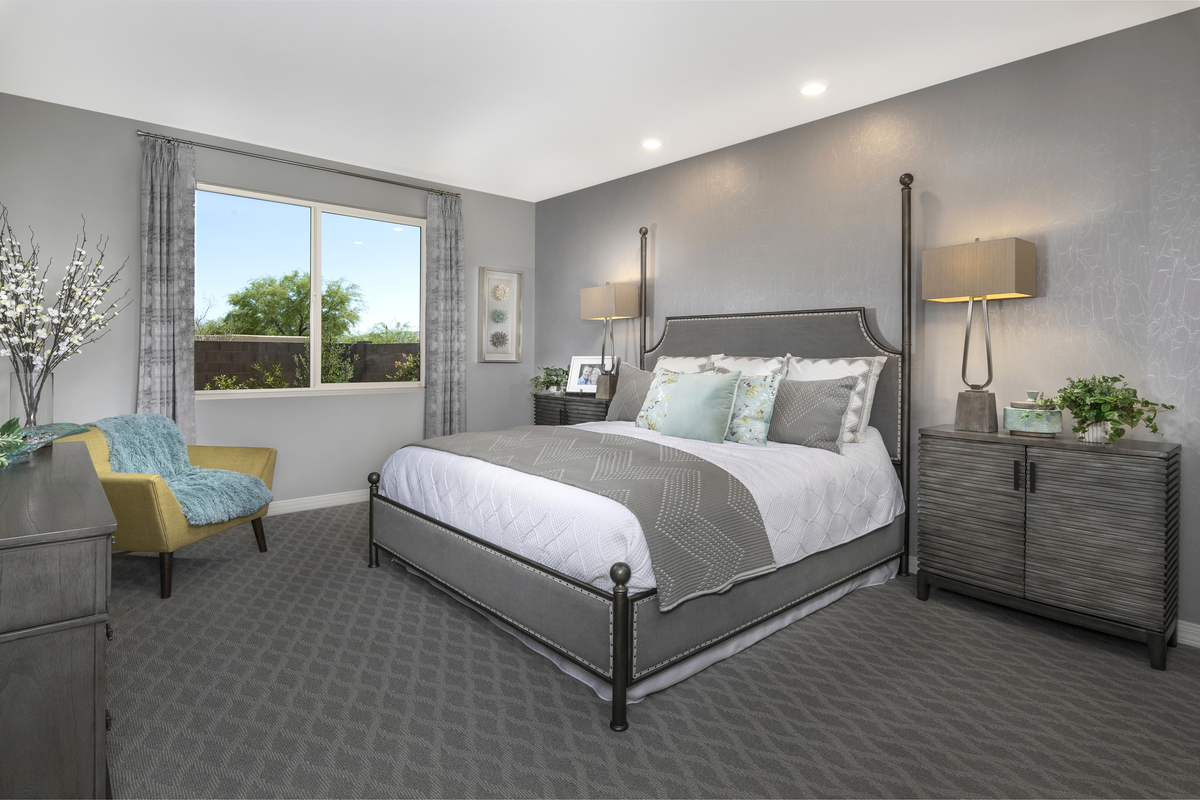 New Homes in Tucson, AZ - Bella Tierra Plan 2013 Master Bedroom as modeled at Estrella Estates