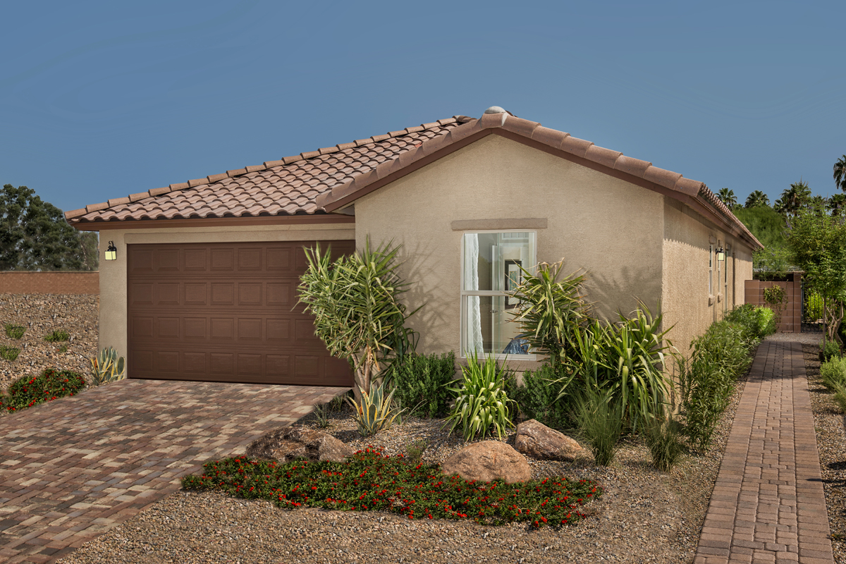 New Homes in Tucson, AZ - Bella Tierra 1740 Exterior as Modeled at Montaretto Estates