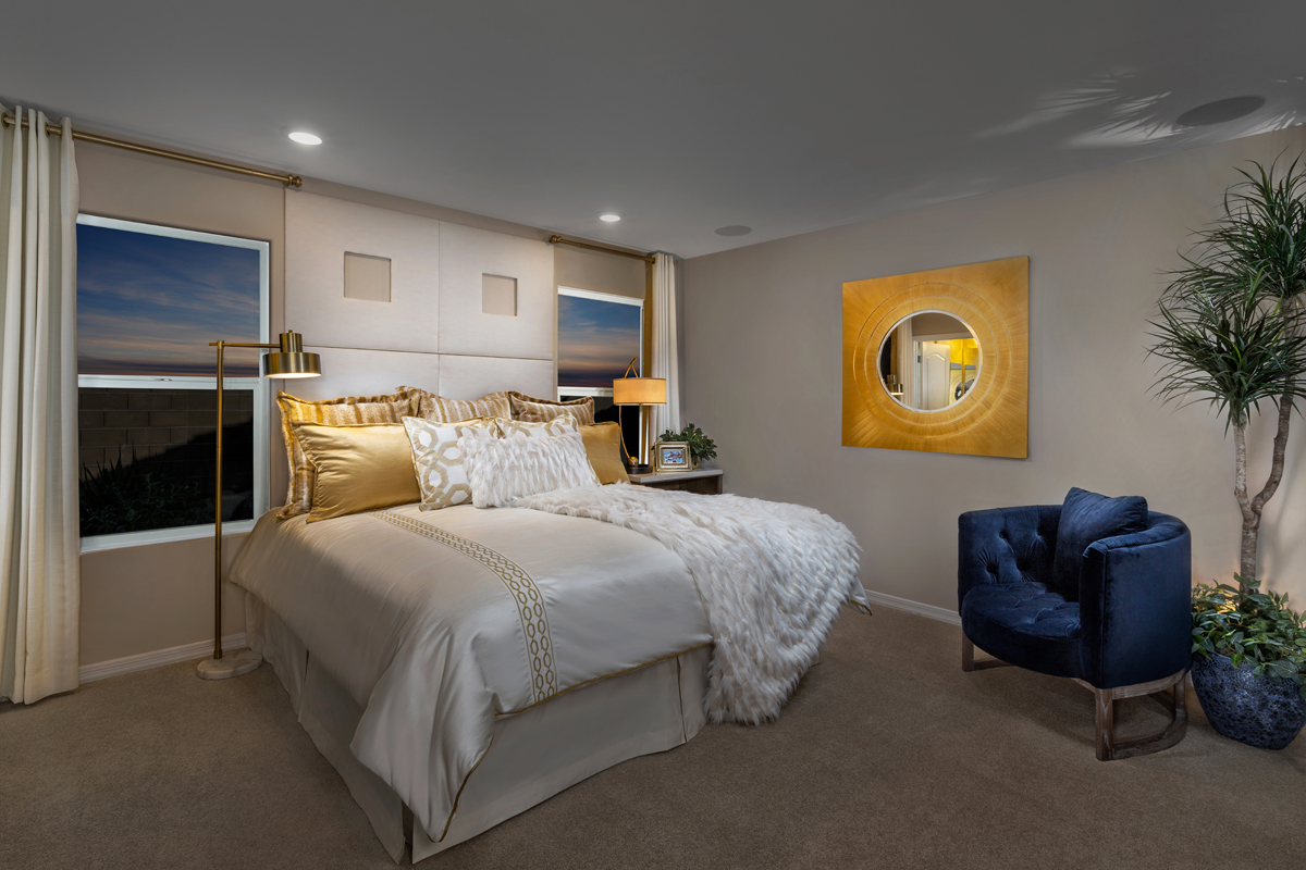 New Homes in Tucson, AZ - Bella Tierra 1740 Master Bedroom as Modeled at Montaretto Estates
