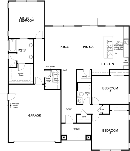 New Homes in Rohnert Park, CA - Plan 1787 Modeled, First Floor
