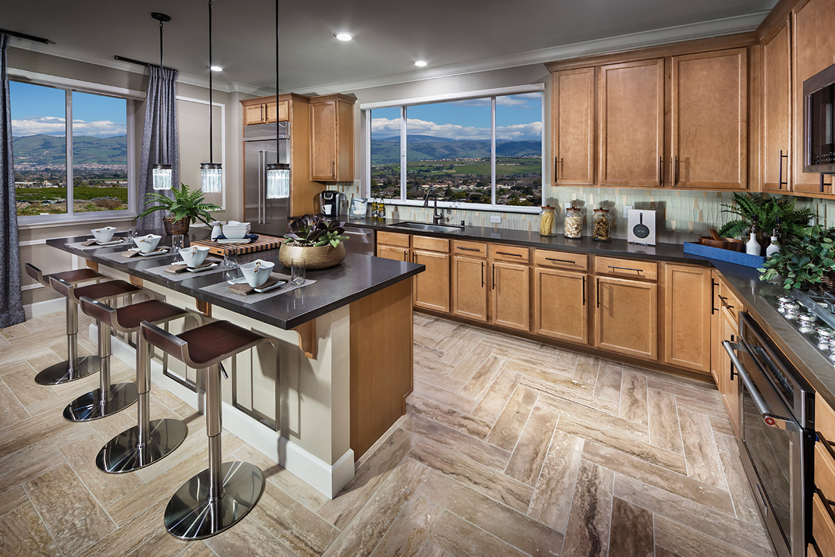 New Homes in San Jose, CA - Platinum II at Communications Hill Plan 4 Kitchen