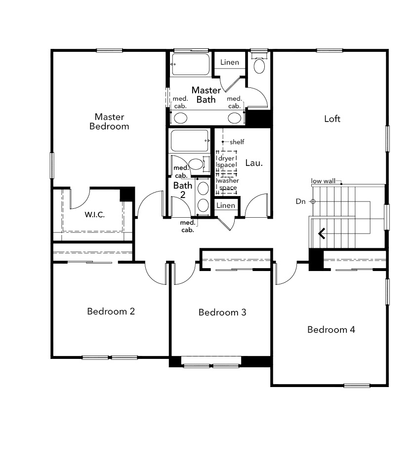 New Homes in Hollister, CA - Plan 2525, Second Floor