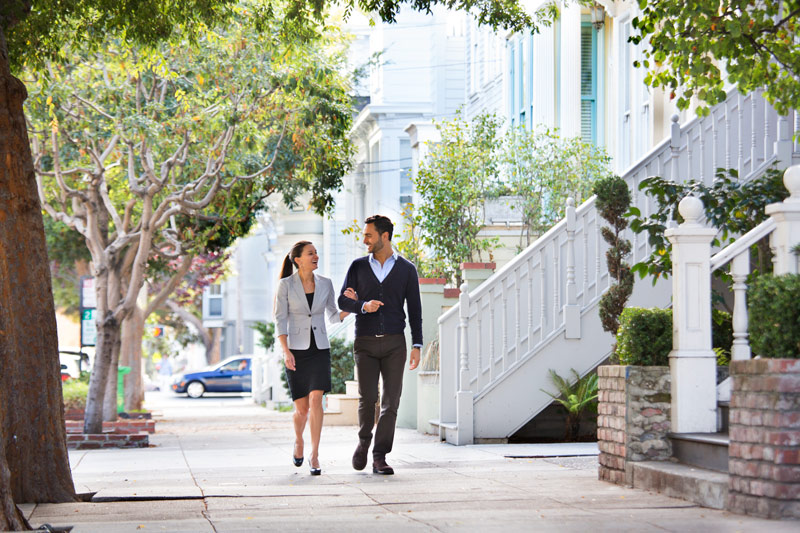 Couple walking in lower pacific heights condo