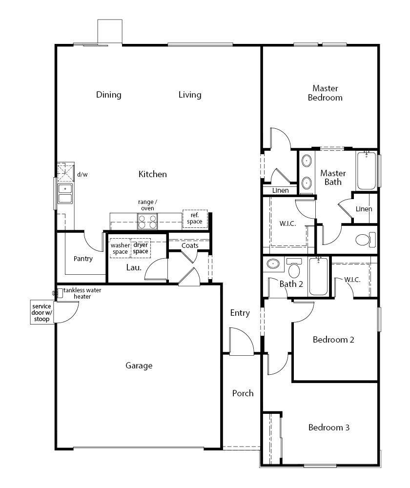 New Homes in Madera, CA - Plan 1557, First Floor