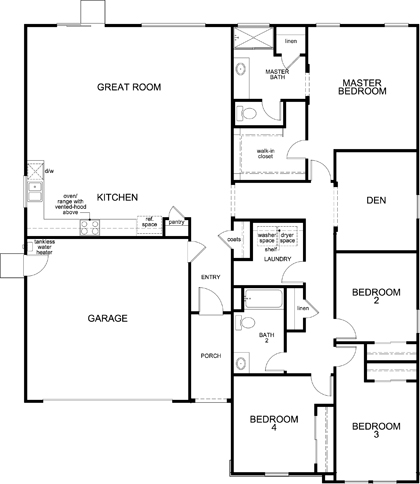 New Homes in Fresno, CA - Plan 2050, First Floor