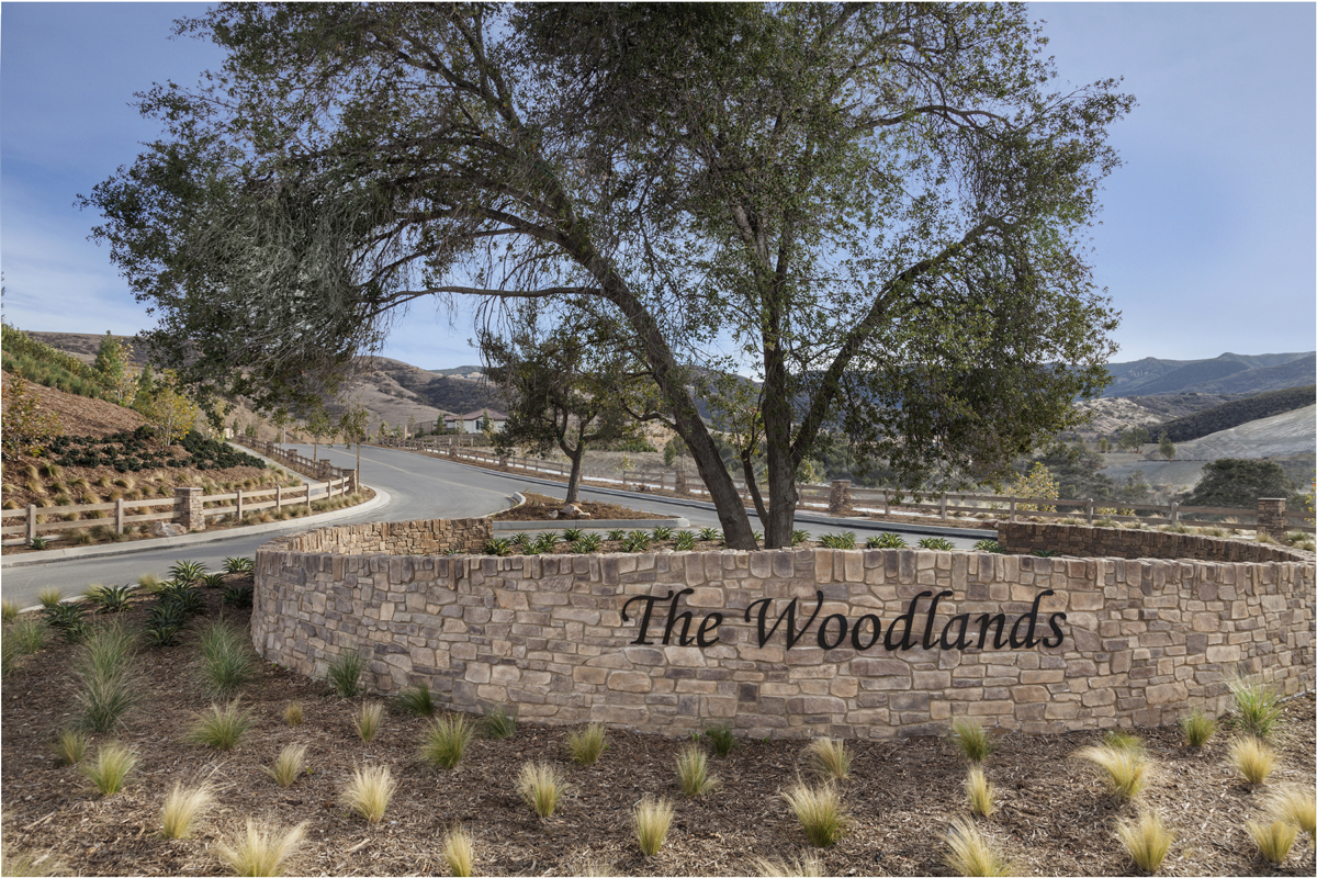 New Homes in Simi Valley, CA - Arroyo Vista at The Woodlands The Woodlands Entry Monument