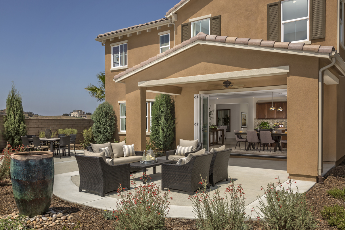 New Homes in Simi Valley, CA - Arroyo Vista at The Woodlands Residence 3292 Patio - Open Doors
