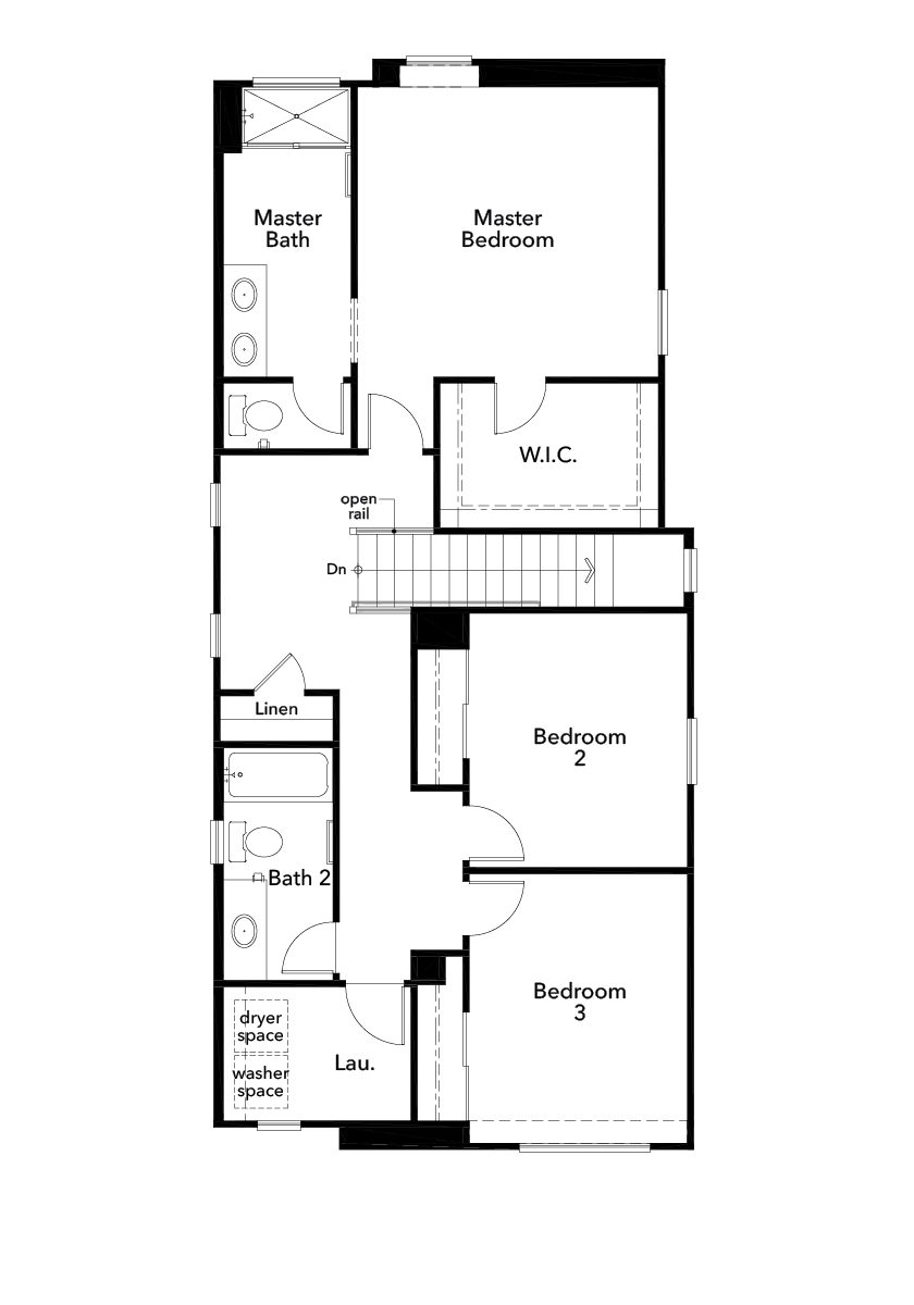 New Homes in Valencia, CA - Plan 1590, Second Floor