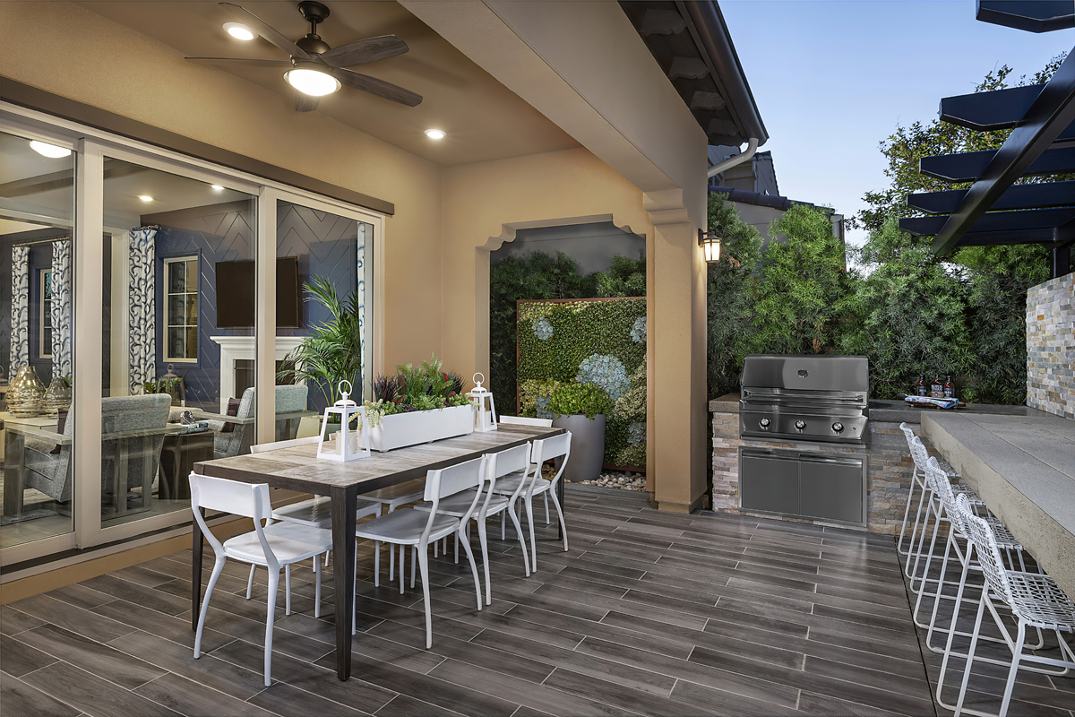 New Homes in Irvine, CA - Genoa at Orchard Hills Residence One Rear Yard Patio
