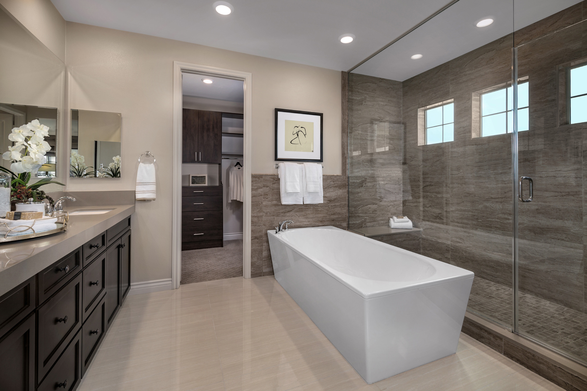 New Homes in Lake Forest, CA - Highmark at Ironridge Residence One Master Bathroom