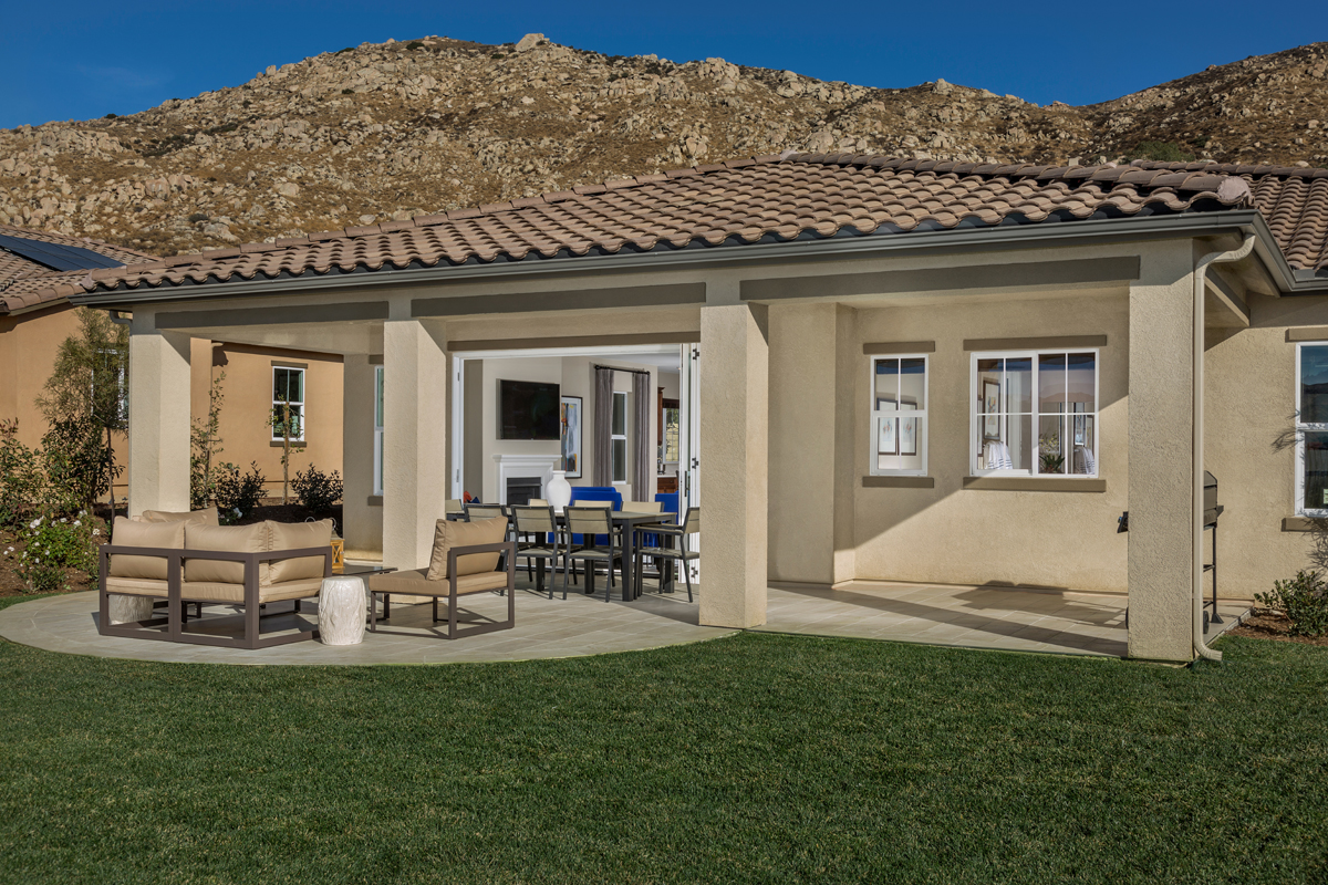 Rear patio at a KB Home community in Moreno Valley, CA