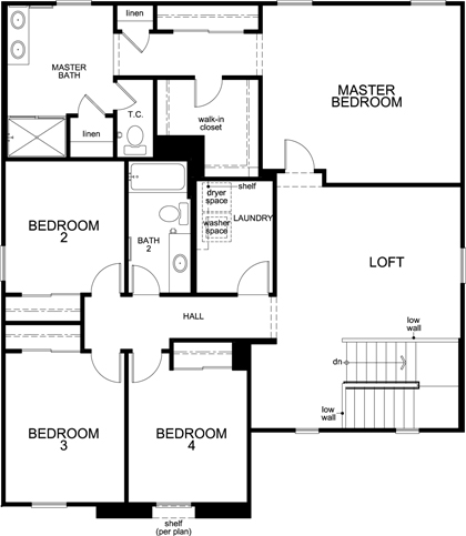 New Homes in Menifee, CA - Residence 2773 Modeled, Second Floor