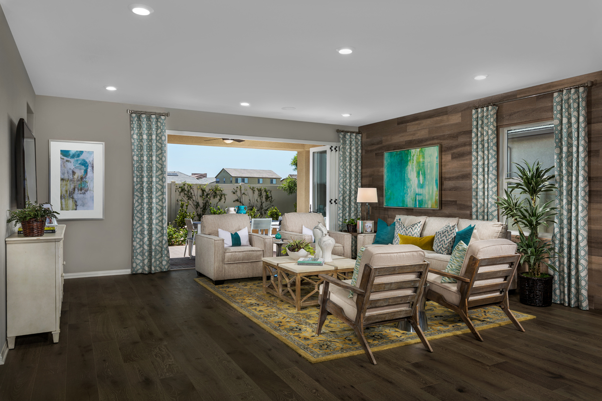 New Homes in Murrieta, CA - Santolina at Spencer's Crossing Residence 2358 Great Room, Open Patio Doors