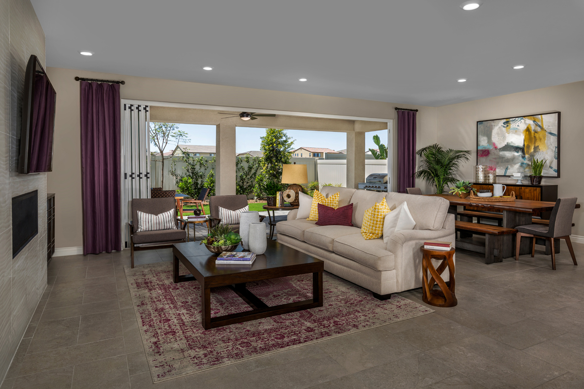 New Homes in Murrieta, CA - Santolina at Spencer's Crossing Residence 2708 Great Room, Open Patio Doors