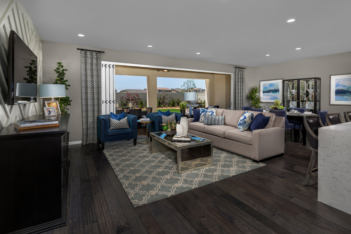 New Homes in Murrieta, CA - Santolina at Spencer's Crossing Residence 3368 Great Room, Open Patio Doors
