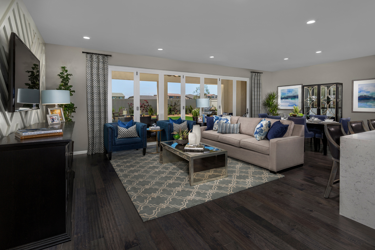 New Homes in Murrieta, CA - Santolina at Spencer's Crossing Residence 3368 Great Room, Closed Patio Doors