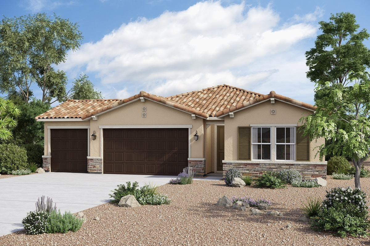 New Homes in Redlands, CA - Elevation B with optional 3-car garage