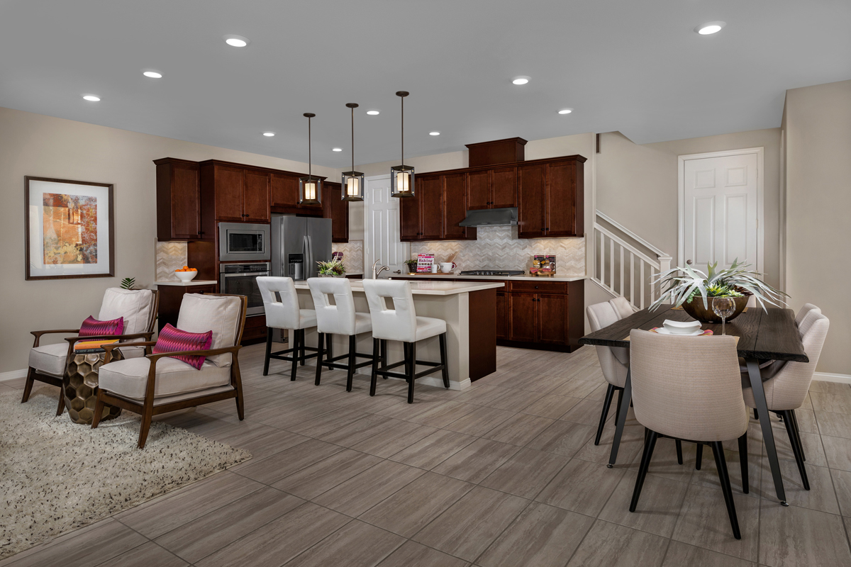New Homes in Chino, CA - Turnleaf Residence 1879 - Great Room & Kitchen