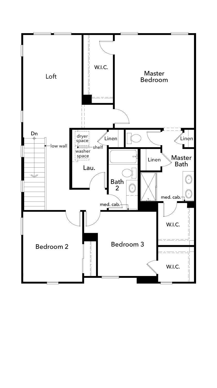New Homes in Sacramento, CA - Plan 2057 Modeled, Second Floor