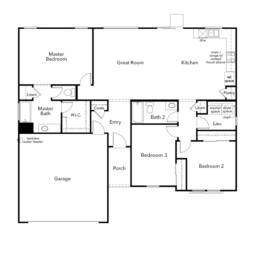 New Homes in Hughson, CA - Plan 1523, First Floor