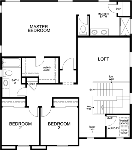 New Homes in Sacramento, CA - Plan 2, Second Floor