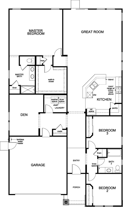 New Homes in Stockton, CA - Plan 2188 - Modeled, First Floor
