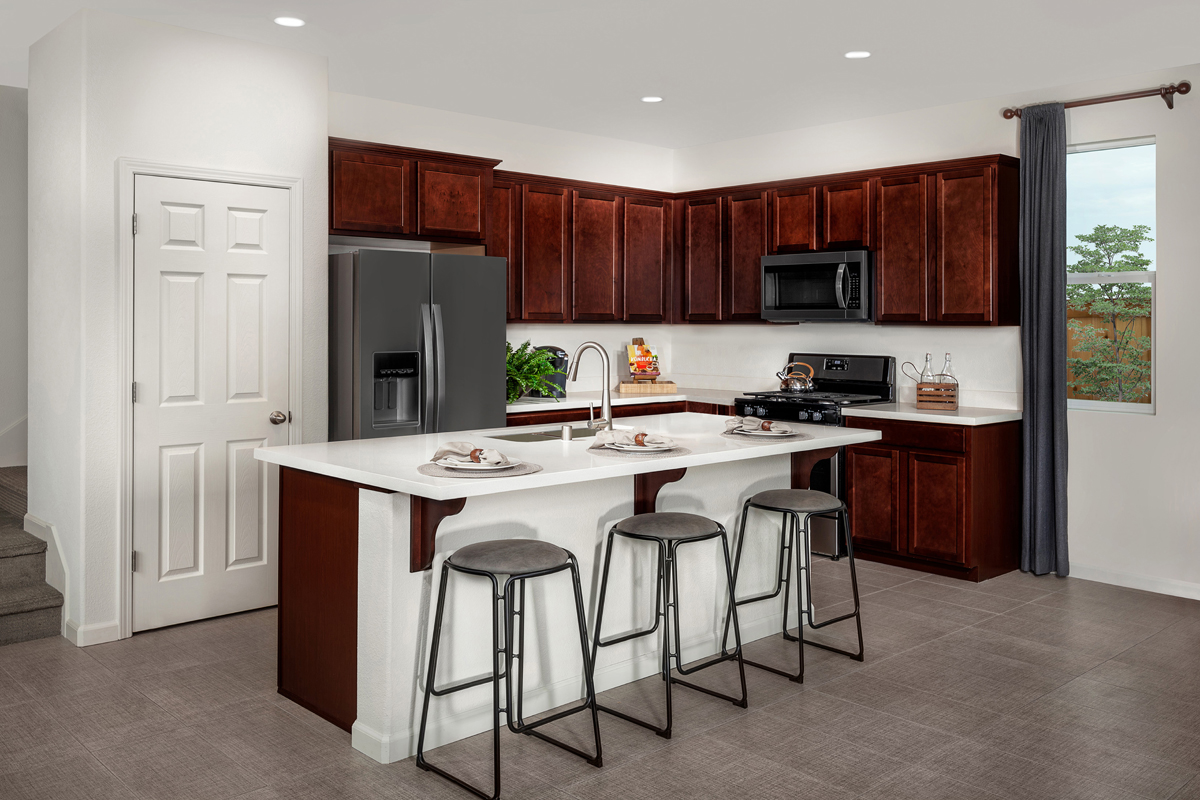 KB model home kitchen in Elk Grove, CA