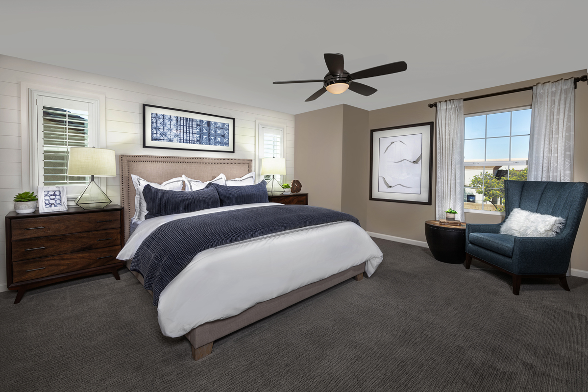 KB model home master bedroom in Elk Grove, CA