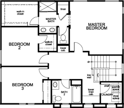 New Homes in Sacramento, CA - Plan 1720, Second Floor